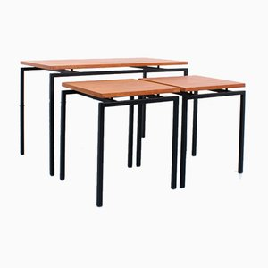 Teak Black Framed Nesting Puzzle Table Set by Stiemsma, 1950s, Set of 3