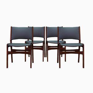 Mid-Century Danish Teak Veneered Chairs by Johannes Andersen, Set of 4