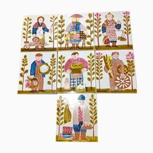 Vintage Ceramic Tiles by Roger Capron, Set of 7