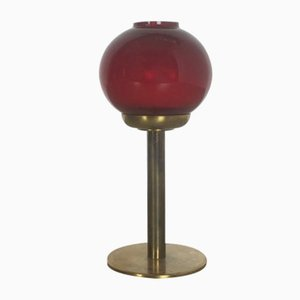 Red Glass and Brass Candle Holder by Hans-Agne Jakobsson, 1950s