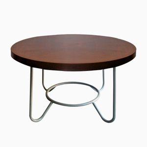 Tavolo vintage rotondo con ripiano in legno