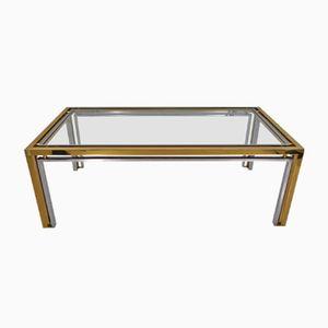 Italian Brass & Chrome Coffee Table by Romeo Rega, 1970s