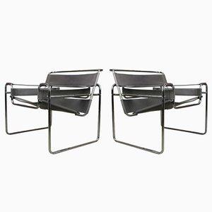 Graue Leder Wassily Armlehnstühle von Marcel Breuer, 1970er, 2er Set