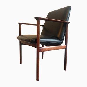Rosewood & Vinyl Armchairs, 1960s, Set of 2