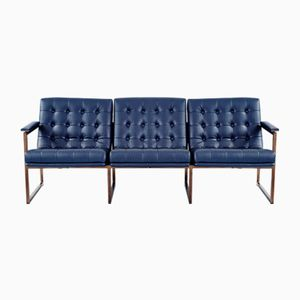 Mid-Century Navy Leather Sofa from Chromcraft