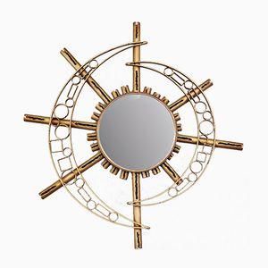 Vintage Spiegel mit Vergoldetem Metallrahmen in Sonnen Optik