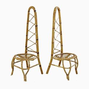 Mid-Century Stühle aus Rattan & Bambus mit Hoher Rückenlehne, 2er Set