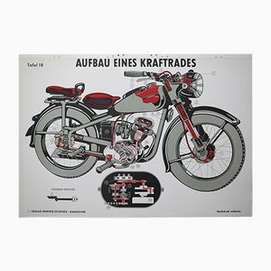 Mid-Century Structure of a Motorcycle Wall Chart from Verlag Werner Degener