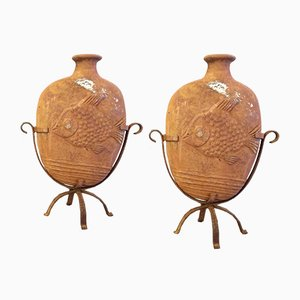 French Terracotta Fish Vases, Set of 2