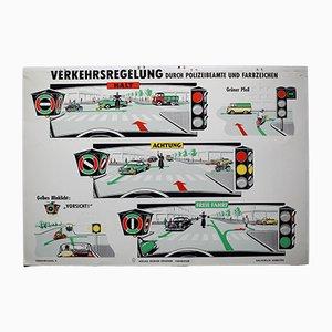 Mid-Century Verkehrsregelung Schulkarte von Verlag Werner Degener