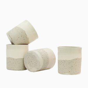 Ceramic Cups in Speckled and White Clay by Maevo, 2017, Set of 4