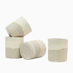Tasses en Céramique et Argile Tachetée et Blanche par Maevo, 2017, Set de 4