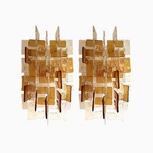 Wandlampen von Carlo Nason für Mazzega Murano, 1970er, 2er Set