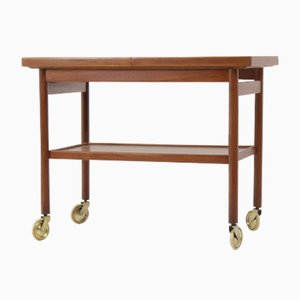 Danish Teak Bar Trolley with Expanding Top, 1960s