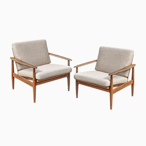 Modern Teak Easy Chairs, 1960s, Set of 2