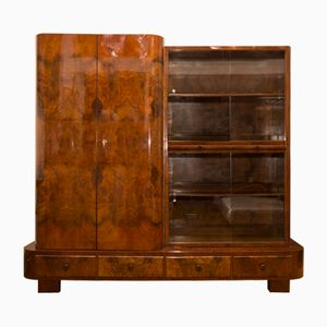 Library Cabinet in Walnut by Jindřich Halabalay for UP Zavody, 1930s