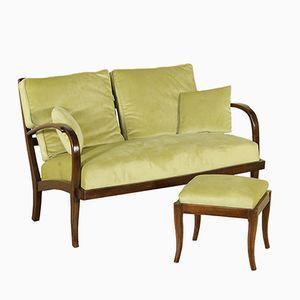 Canapé en Hêtre Teint & Tissu Vert avec Pouf, Italie, 1940s