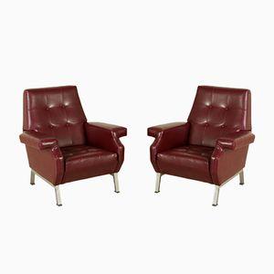 Italian Mid-Century Leatherette Armchairs, Set of 2
