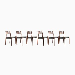 Model 78 Rosewood Chairs by N.O. Møller for J.L. Møllers, 1970s, Set of 6