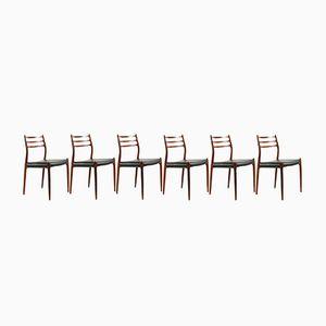 Modell 78 Palisander Stühle von N.O. Møller für J.L. Møllers, 1970er, 6er Set