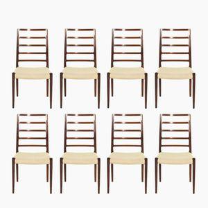 Model 82 Rosewood Chairs by Niels O. Møller for J. L. Møllers, 1970s, Set of 8