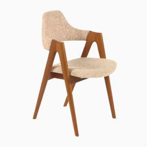 Dänischer Vintage Stuhl mit Weißem Wollbezug von Kai Kristiansen für SVA Mobler