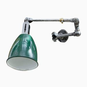 Green Enameled Factory Light from Dugdills, 1930s