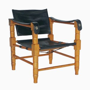Black Leather & Carved Wood Chair, 1960s
