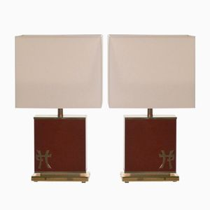 Lamps in Lacquered Brass by Jean Claude Mahey for Maison Romeo, 1970s, Set of 2