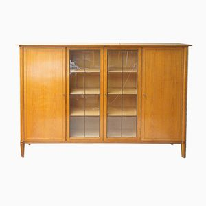 German Cherrywood Veneered Highboard with Display Cabinet, 1950s