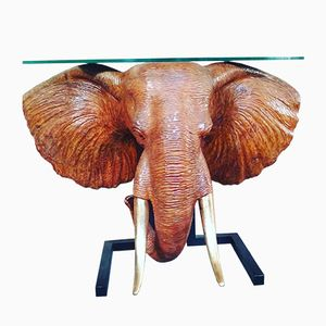 Consolle con testa di elefante in legno intagliato e foglia oro, anni '80