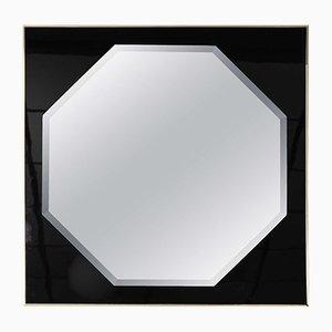 Oktogonaler Vintage Spiegel mit Rahmen in Schwarz und Messing