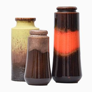 Mid-Century Fat Lava Vases from Scheurich, Set of 3