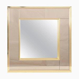 Zweifarbiger Quadratischer Vintage Spiegel mit Messingrahmen