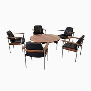 Set da salotto vintage con tavolino da caffè e 5 sedie di Sven Ivar Dysthe per Dokka