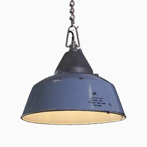 Vintage Fabrik Deckenlampe aus Blauer Emaille