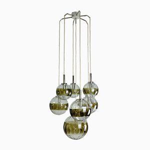 Lampada a sospensione con 7 sfere in vetro di Oberglas Austria, anni '60