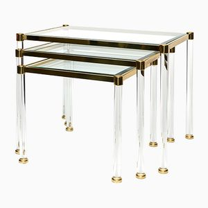 Brass & Lucite Nesting Tables, 1970s