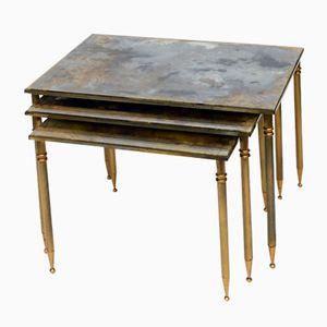 Tavolini a incastro in ottone, Francia, anni '50
