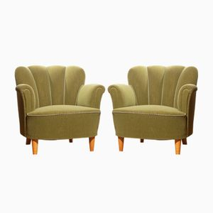 Swedish Green Club Chairs, 1940s, Set of 2