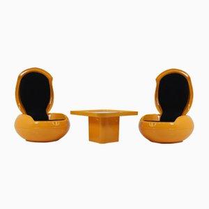 Garten Egg Chairs mit Tisch von Peter Ghyczy für VEB Synthese, 1968