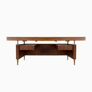 Großer Vintage Walnuss & Messing Schreibtisch