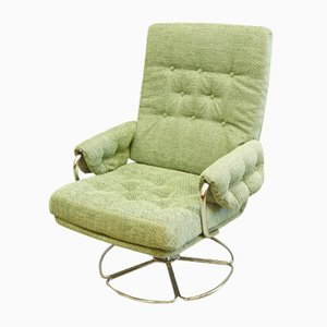 Mid-Century Chrome and Fabric Swivel Chair, 1960s