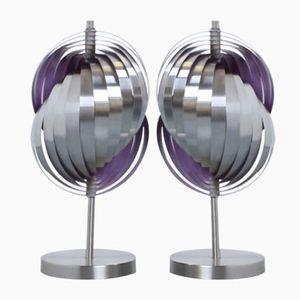 Lampade da comodino vintage a spirale in metallo di Henri Mathieu, set di 2