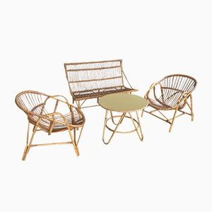 Vintage Living Room Set in Rattan