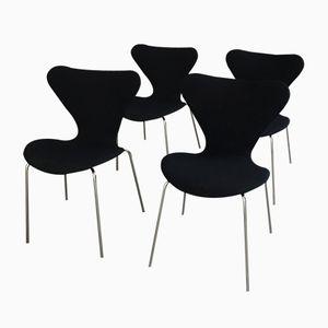 Vintage 3107 Stühle von Arne Jacobsen für Fritz Hansen, 4er Set