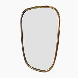 Asymmetrischer Vintage Spiegel mit Rahmen aus Vergoldetem Messing von Lenzgold, 1950