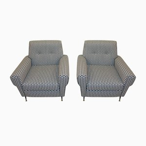 Italian Armchairs with Optical Fabric, 1950s, Set of 2