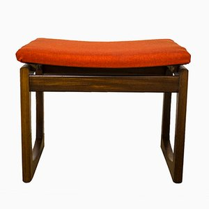 Mid-Century Red Fabric Quadrille Stool by R. Bennett for G-Plan