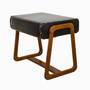 Danish Teak & Black Vinyl Stool, 1960s